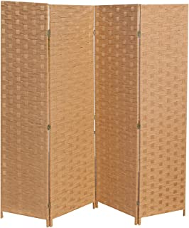 FDW Room Divider 4 Panel Wood mesh Woven Design Room Screen Divider Wooden Screen Folding Portable partition Screen Screen Wood for Home Office Bedroom Natural