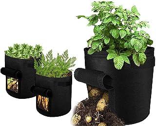 Tengcong Potato Grow Bags,3 Pack 4 Gallon Plant Grow Bags Fabric Pots Premium Breathable Cloth Bags for Potato/Plant Conta...