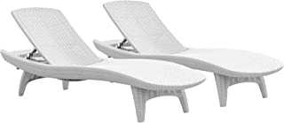 Keter Set of 2 Pacific Sun Chair All-Weather Adjustable Outdoor Patio Chaise Lounge, Oasis White
