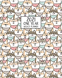 2021 One Year Weekly Planner: Bandana Loving Shiba Inu Pups | Weekly Views and Daily Schedules to Drive Goal Oriented Acti...
