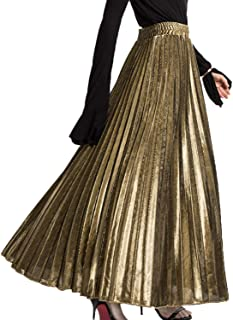 Women's Maxi Skirts Casual Pleated A-Line Long Skirt