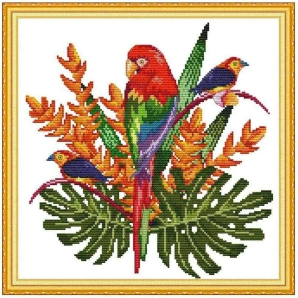 San Antonio Max 84% OFF Mall Cross Stitch Embroidery kit Parrot in The Cros DIY Grass 40X50cm