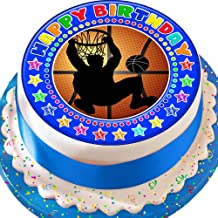Cannellio Cakes Basketball Blue Birthday 7.5 Inch Happy Birthday Precut Edible Icing Cake Topper Decoration