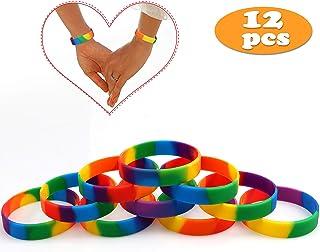Pulseras Rainbow de Orgullo Gay 6 Colores Pulseras de Caucho de Silicona LGBT Party Pulseras Covenant de Yahweh - 12 Piezas