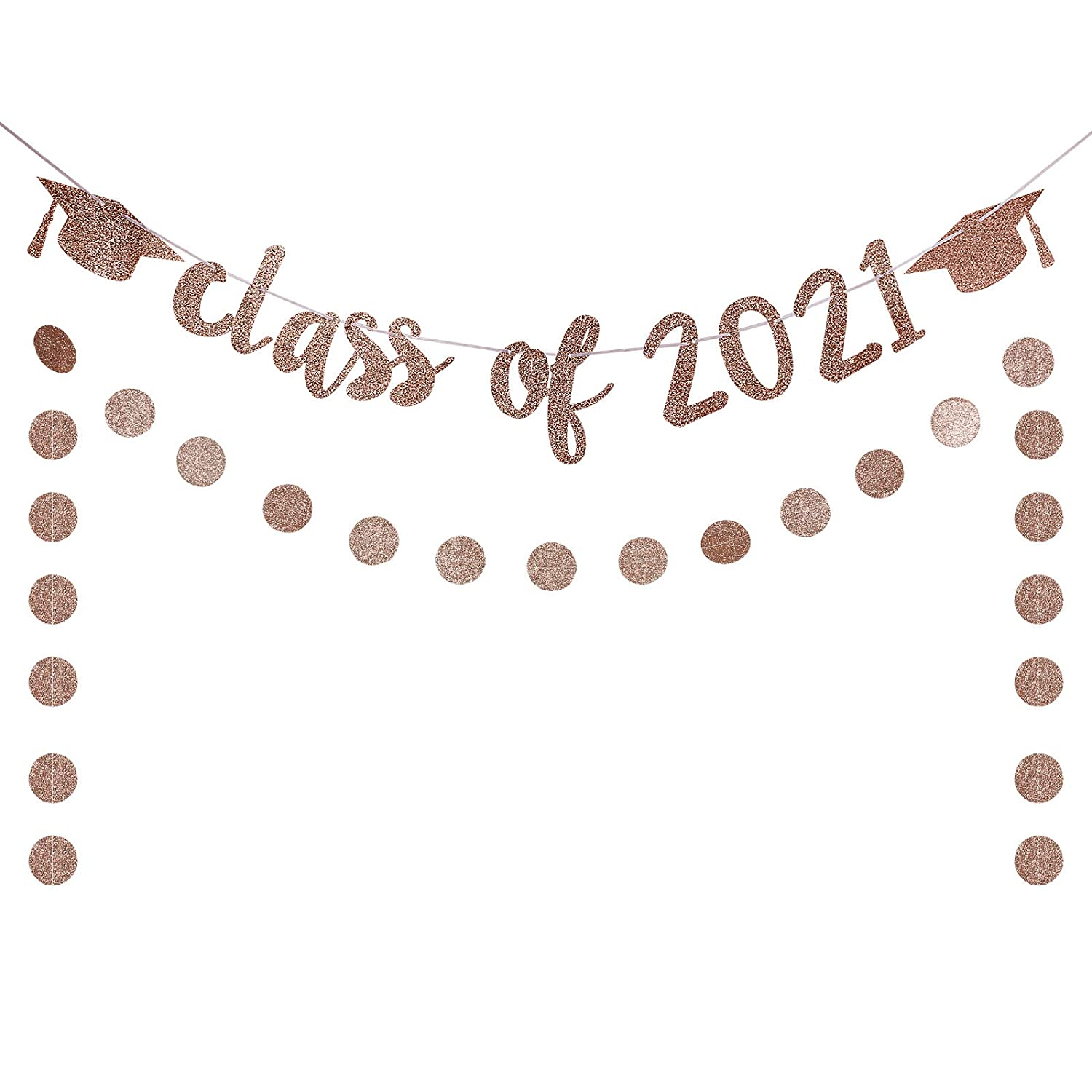 Rose Gold Glittery Class Of 2021 Banner and Rose Gold Glittery C