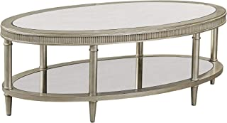 Bassett Mirror Company Oval Cocktail Table in Silver Finish