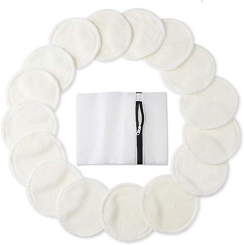 Reusable Makeup Remover Pads - JR INTL Organic Cotton Rounds Soft Bamboo Toner Pads with Laundry Bag, 20 Pcs