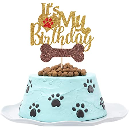 CT048 Puppy Birthday Party Decorations Lets Pawty Cake Topper Gold Glitter
