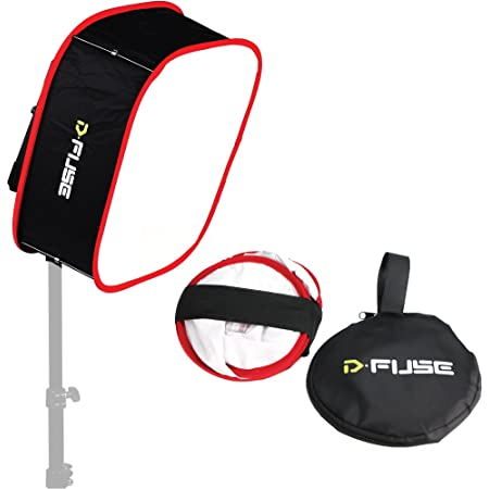 """Kamerar D-Fuse Large LED Light Panel Softbox: 12""""x12"""" Opening, Foldable Portable Light Diffuser, Carrying Bag, Strap Attachment, Portrait Photography, Photo Video, Studio Lighting, Natural Look"""