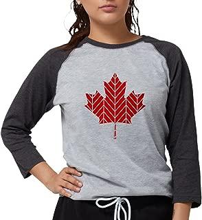 CafePress - Chevron Maple Leaf Long Sleeve T-Shirt - Womens Baseball Tee