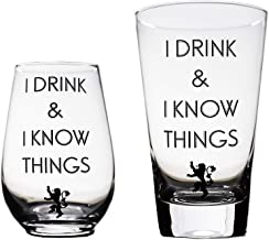 I Drink and I Know Things Beer Glass & Wine Glass Game of Thrones-Inspired Combo by Momstir - the Golden Lion Great for Drinking Games Wine & Beer Gifts - Him and Her