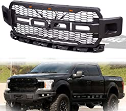 Front Grill Fits for 2018-2019 Ford F150 F-150 Raptor Style Front Grille with 3 Amber LED lights (GRAY)