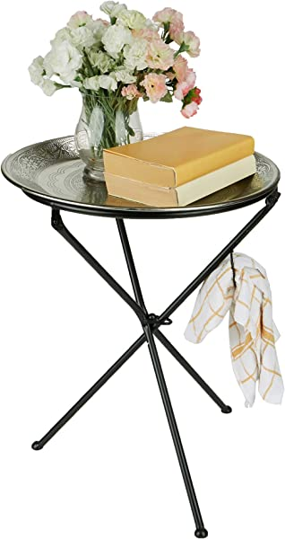 Mind Reader TUNITAB SIL Modern Tunisian Elegant D Cor Detachable Lightweight Aluminum Tray Table Silver