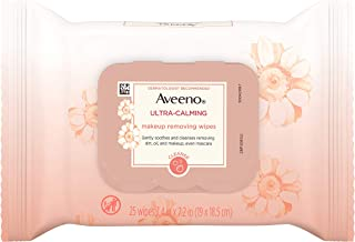 Aveeno Ultra-Calming Cleansing Oil-Free Makeup Removing Wipes for Sensitive Skin, 25 Count