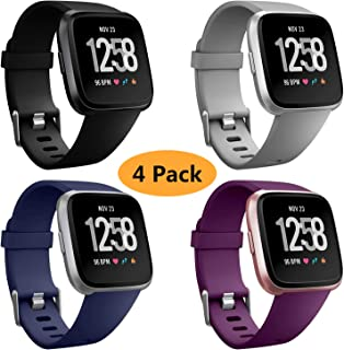 Neitooh 4 Packs Bands Compatible with Fitbit Versa/Versa 2/Fitbit Versa Lite for Women and Men, Classic Soft Silicone Sport Strap Replacement Wristband for Fitbit Versa Smart Watch