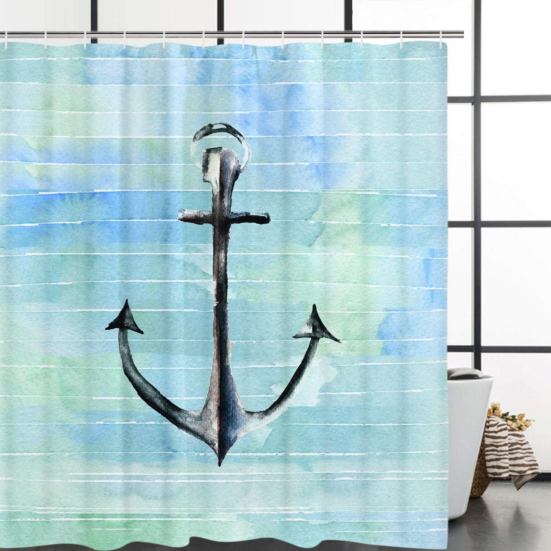 Abwaschbar Cartoon Shower Curtain f/ür Kinder Elloevn Aquarell Anker Duschvorhang 175x178 cm Blau Gr/ün wasserdichte Antischimmel Stoffe Duschvorh/änge