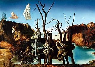 Swans Reflecting Elephants Salvador Dali - Cartel de la película de cine - La reproducción, el regalo perfecto - A2 Cartel (24/16.5 inch) - (59/42cm) - Papel fotográfico grueso brillante