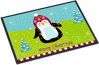 """Caroline's Treasures Merry Christmas Happy Penguin Indoor or Outdoor Mat 18x27 VHA3015MAT, VHA3015MAT, Multicolor, 18"""" x 27"""""""