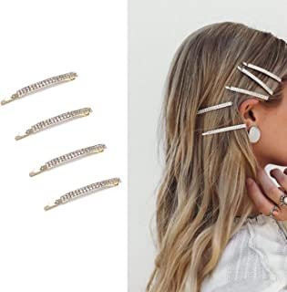 Deluxe 4 Pack Gold Decorative Double Row Clear Crystal Rhinestone Hair Barrettes Bobby Pins Clips