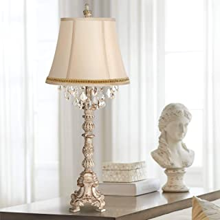 Duval French Traditional Table Lamp Candlestick Whitewash Crystal Beading Two Tone Braid Artisan Trimmed Shade for Living Room Bedroom Bedside Nightstand Office Family - Barnes and Ivy