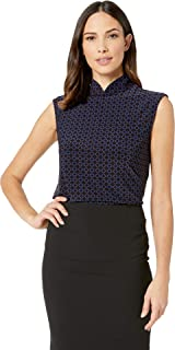 Anne Klein Women's Printed ITY Stand Collar Slvls Zip TOP Shirt