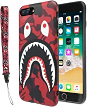 iPhone 7/8 Plus Shark Face Case Street Fashion: Luxury Flexible Durable Designer Protective TPU Cover/Bumper/Skin/Cushion with Wrist Strap only for 5.5