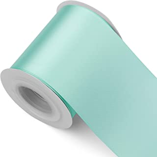 Humphrey's Craft Fabric Ribbon -Thick, Velvety Soft 3 Inch Wide Ribbon Non-Toxic Decorative Colorful Double Face Satin Ribbons for Crafts, Wedding Bouquet, Bridal Sashes-10 Yards/Roll (Tiffany Blue)