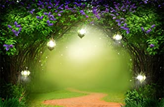 Leowefowa 7X5FT Fairytale Backdrop Dreamy Forest Trees Purple Flowers Green Vine Bokeh Halos Path Grass Field Shining Lights Fantasy World Vinyl Photography Background Kids Lover Photo Studio Props