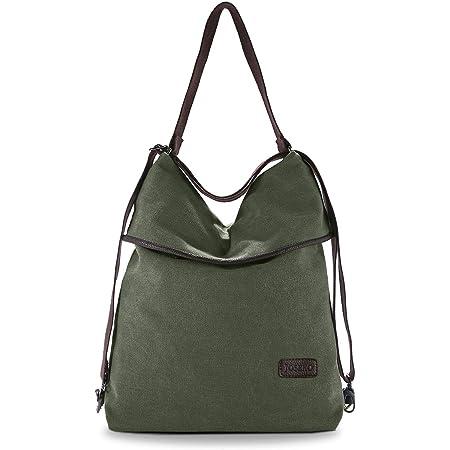 JOSEKO Canvas Tasche Segeltuch Vintage Rucksäcke Damen Schultertasche Handtasche Multifunktionsbeutel für Reise Outdoor Schule Einkauf Alltag Büro
