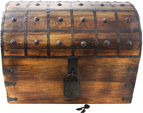 Well Pack Box Large 3X Pirate Treasure Chest Box With Lock And Key XXXL 21x17x17
