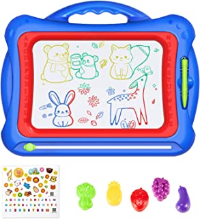 """Geekper Magnetic Drawing Board, 15.75"""" Erasable Colorful Magna Doodle Toys Writing Sketching Pad Set with 5 Shape Stamps &..."""