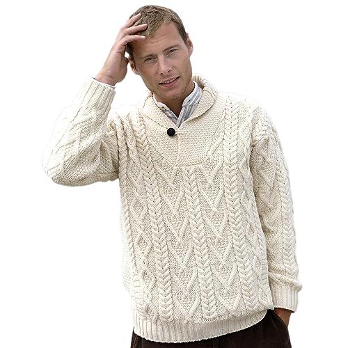 da5c9459541695 Merino Wool Irish Fishermans Rib Sweater with Patches.