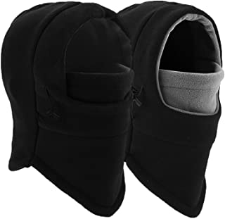 Balaclava Ski Mask - Windproof Fleece Adjustable Winter Mask for Men Women (Black+Black/Gray)