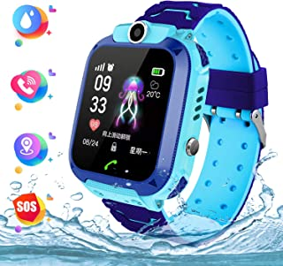 Smart Watch Telefono para Estudiante Niños, IP67 Impermeable Reloj, AGPS/LBS localizador Reloj del Teléfono SOS Chat de Voz Reloj de Cámara, Reloj Inteligente Regalo para Niño Niña(Azull)