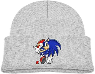 Soft Kids Cap Knitted Hat for Baby with Cute Sonic Hedgehog 3D Figure Pattern
