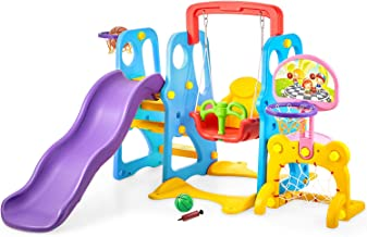 kealive Climber and Swing Set Toddler 5 in 1 Play Slide Climber Indoor Outdoor Playground Toy, 2 Basketball Hoops with Bal...