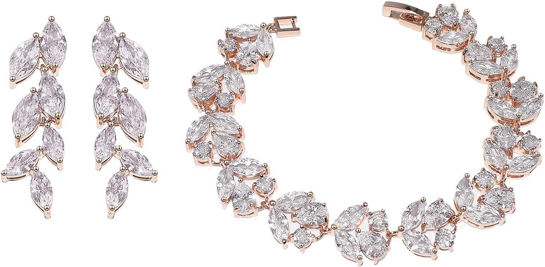 UDORA Cubic Zirconia Leafs Earrings Bracelet Jewelry Set For Bridal Bridesmaid Wedding Prom