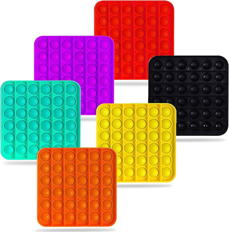 2021 New Upgrade 6PCS Push pop Bubble Fidget Sensory Toy Autism Special Needs Stress Reliever Silicone Stress Reliever Toy Squeeze Sensory Toy for Kid and Adult Square-6pcs