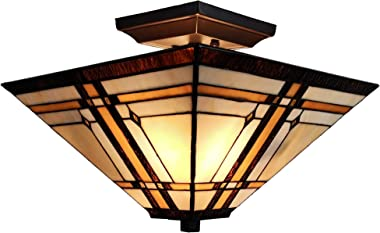 """Amora Lighting Tiffany Style Ceiling Fixture Lamp Mission 14"""" Semi Flush Mount Wide Stained Glass Tan Brown Antique Vintage L"""