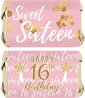 Sweet Sixteen 16th Birthday Mini Candy Bar Wrappers, 45 Stickers (Pink and Gold)