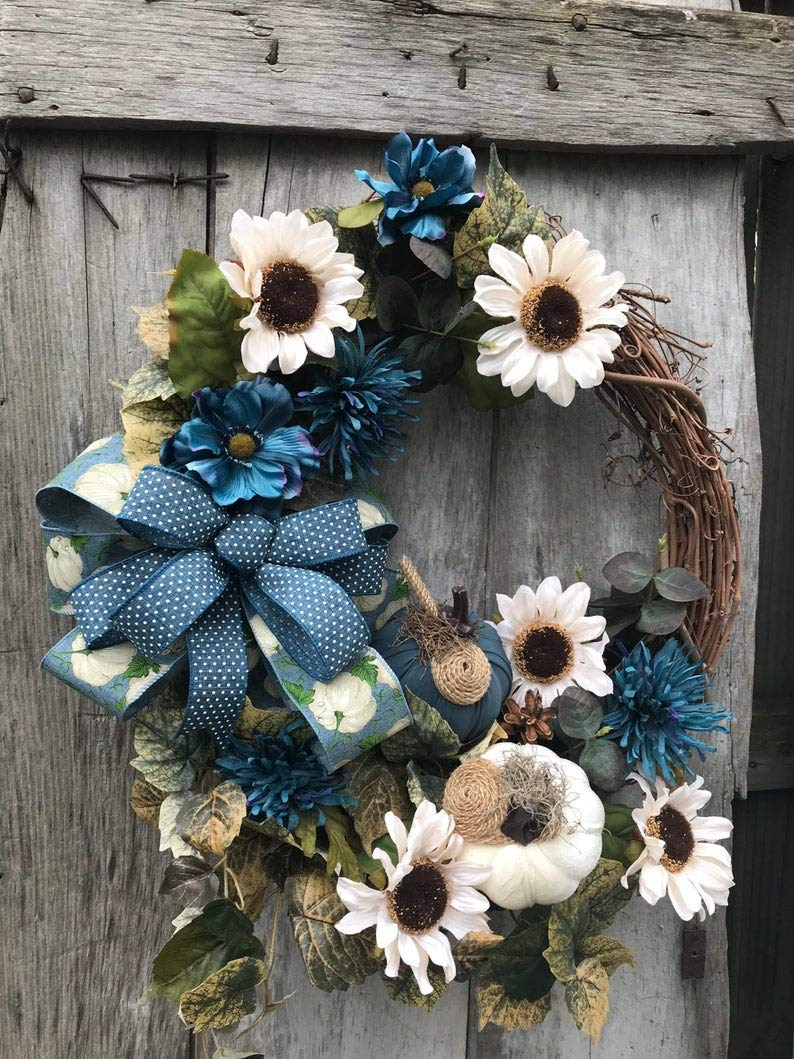 Autumn Cream 5% OFF and Tulsa Mall Beautiful Blue Gr Pumpkins Floral with handmade