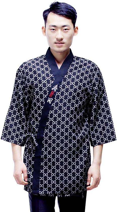 Xianheng Chaqueta de Chef Kimono Cocinero Camarero Uniforme de Trabajo de Estilo Japones 2XL