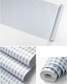 Gow4u Decorative Gingham Dresser Drawer Shelf Liner Self Adhesive Vinyl Contact Paper for Kitchen Cabinets Pantry Refrigerators Arts Crafts Decal (Blue, 17.7x117 Inches)