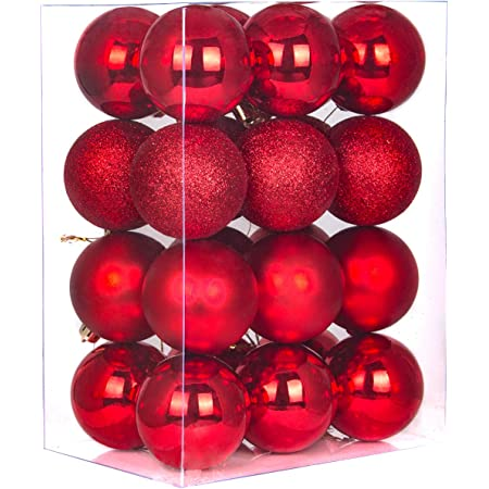 Red, 4cm Christmas Ball Ornaments shatterproof,21pcs Mini red Satin Shiny and Glitter Finish Bulb