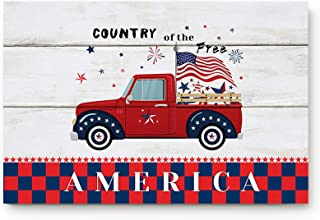 Entrance Front Indoor Doormats Independence Day Red Truck Non-slip Low Profile Rubber Backing Floor Carpet Rug for High Tr...