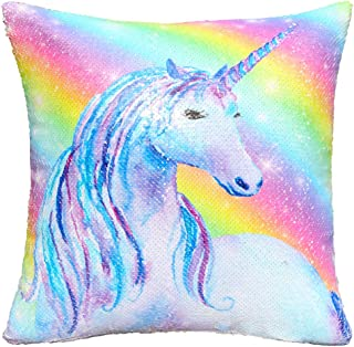 MHJY Unicorn Pillow Case Reversible Sequin Pillow Cover Mermaid Sequin Throw Cushion Cover Decorative Pillowcase 16