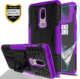 YmhxcY Oneplus 6 Phone Case with HD Screen Protector,Military Armor Drop Tested [Heavy Duty] Hybrid Case with Kickstand for Oneplus 6 2018-LT Purple