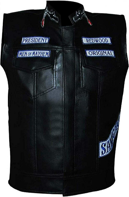Mens Sons Of Anarchy Biker Leather Vest - SOA Cowhide Leather Vest