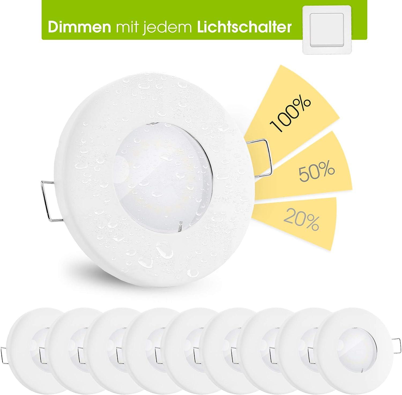 10 Stück linovum® fourSTEP Deckeneinbaustrahler LED Bad flach dimmen ohne Dimmer - LED GU10 5W warmweiß 230V - Spot weiß IP65 10er-set - Weiß