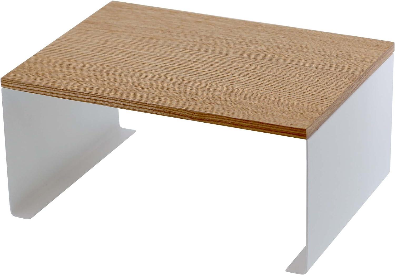 Yamazaki Home Wood-Top Stackable Kitchen Rack-Modern Counter Shelf Organizer, White